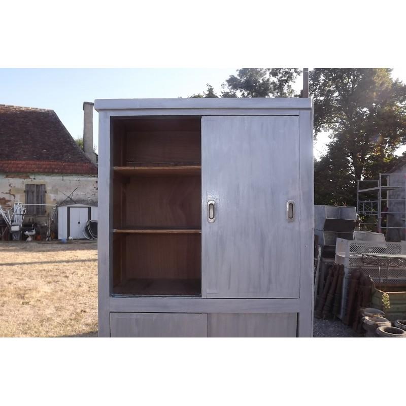 Meuble industriel bois portes coulissantes - Brocante meuble industriel ...
