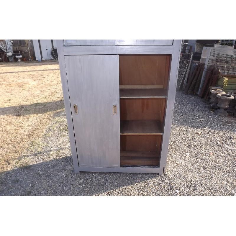 Meuble industriel bois portes coulissantes for Meuble deux portes bois