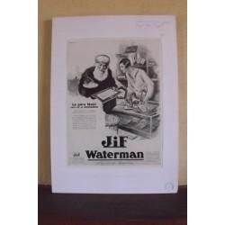Affiche Pub Waterman 1930 Leon Fauret