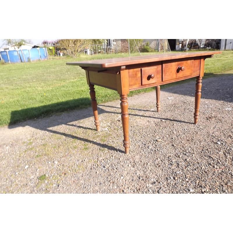 table bureau 19 me en merisier 2 tiroirs. Black Bedroom Furniture Sets. Home Design Ideas