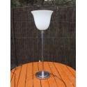 Lampe MAZDA chrome et opaline blanche Art-dèco