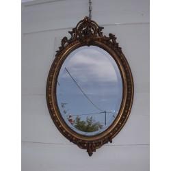 Miroir 19 ème Bois et Stuk doré Ovale