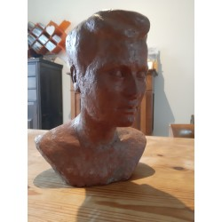 Buste Femme des Années 50 en Terre Cuite