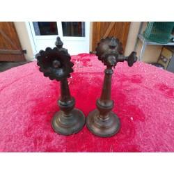 Paire d'Appliques de Lampes à Gaz Bronze 19 ème