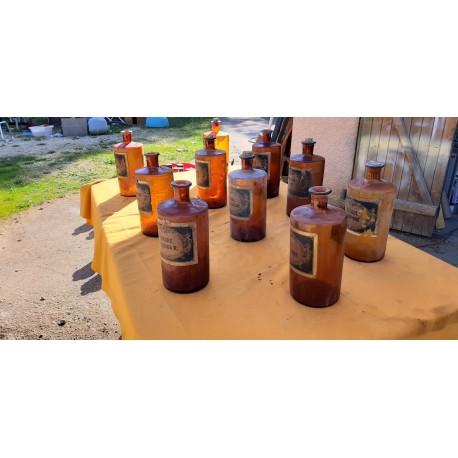 10 Pots a Pharmacie 19 ème en Verre Marron