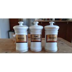 3 Pots a Pharmacie 19 ème en Porcelaine