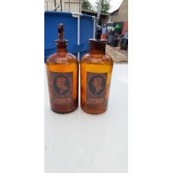 Paire de Flacons de Pharmacie en verre Marron