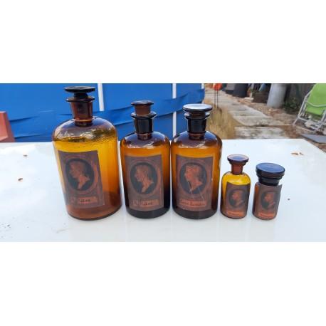 5 Flacons de Pharmacie en verre Marron
