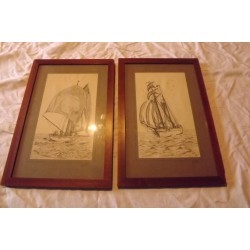 2 Dessins aux crayons Marine Dorothy Mitchell 1937