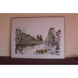 """Lithographie des Années 70 """" Paris"""" par D Risze 79"""