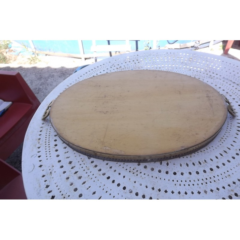 plateau ovale verre laiton et bois. Black Bedroom Furniture Sets. Home Design Ideas